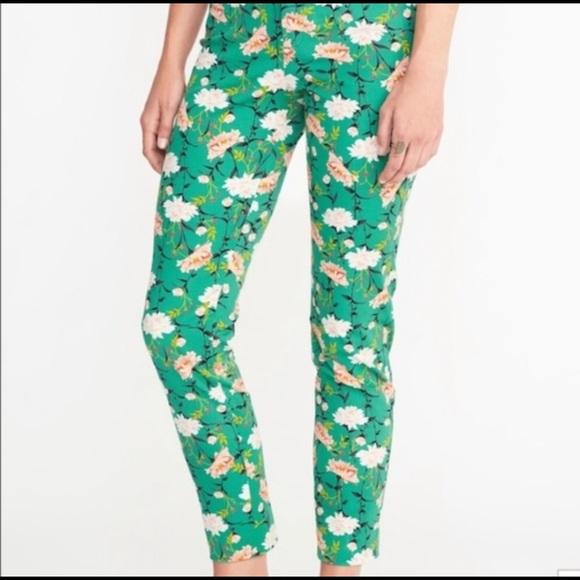 Old Navy Denim - Old Navy Green Floral Pixie Jeans